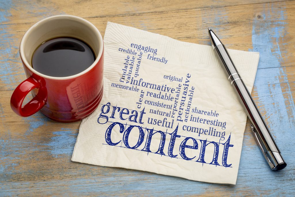 great content writing word cloud on a napkin with a cup of coffee, business writing and content marketing concept