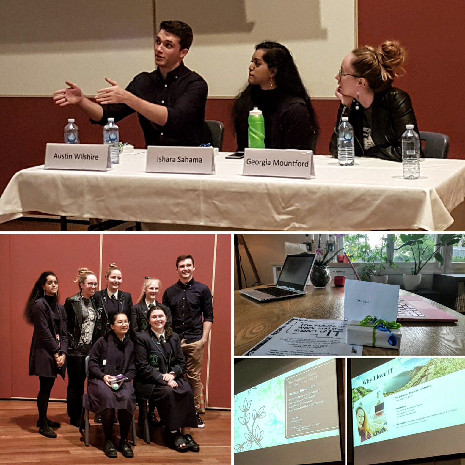 Collage of images - Georgia sitting on a panel of speakers, presenting her topic, posing with students, receiving gift from host